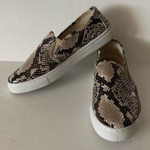 Mia Fay Snake Embossed Slip-On Sneaker Beige